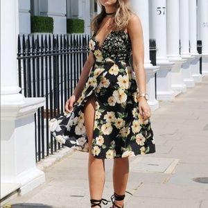 Topshop Strappy floral wrap dress